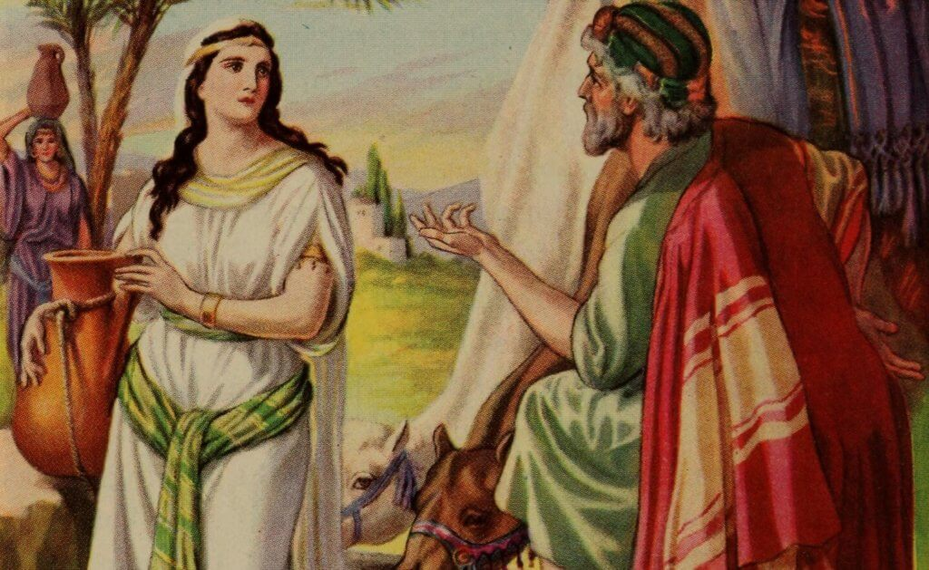 Netivyah | Chayei Sarah | Illustration of Eliezer and Rebecca from an illustrated bible from 1991, by Adolf Hult (1869-1943)