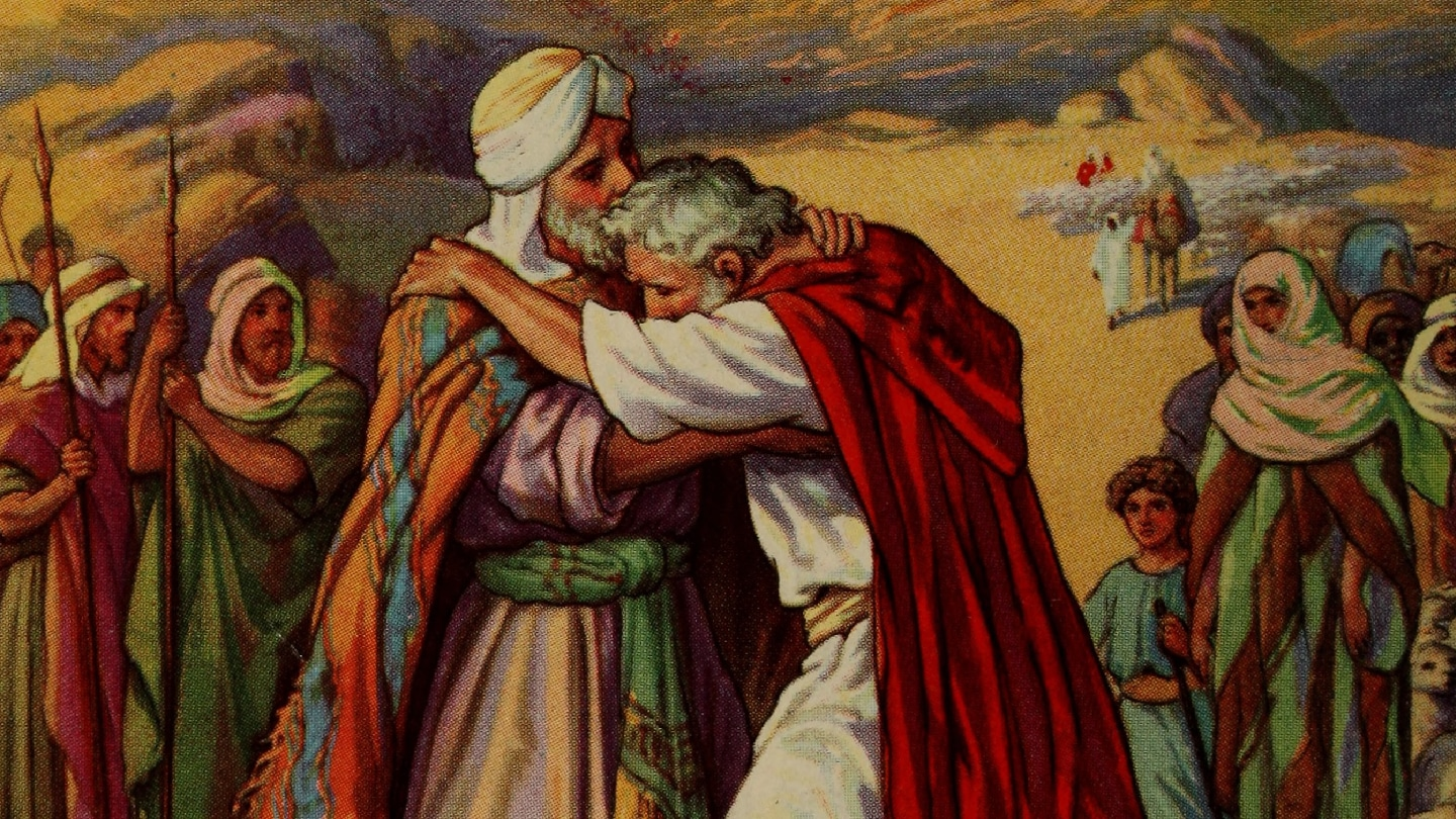 Netivyah | Parashat Vayishlach | Jacob and Esau meet in an illustration from a Sunday school book from 1919