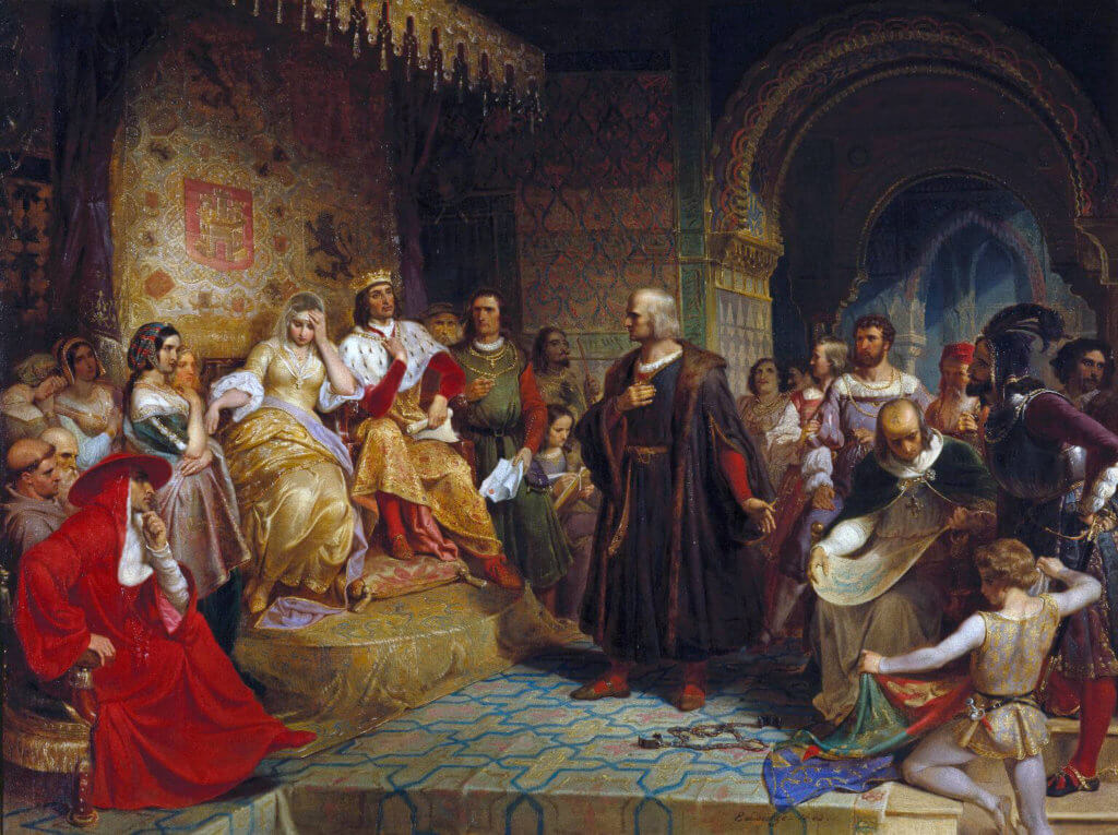 Columbus before the queen - marranos
