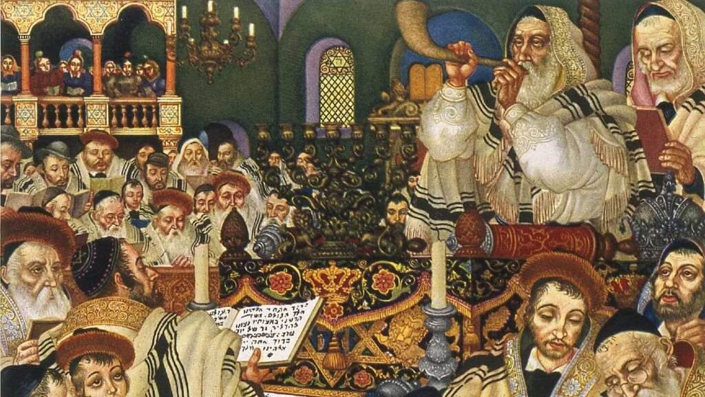 Arthur Szyk's illustration of Rosh Hashanah, from The Holiday Series: Six Paintings of Jewish Holidays, 1948