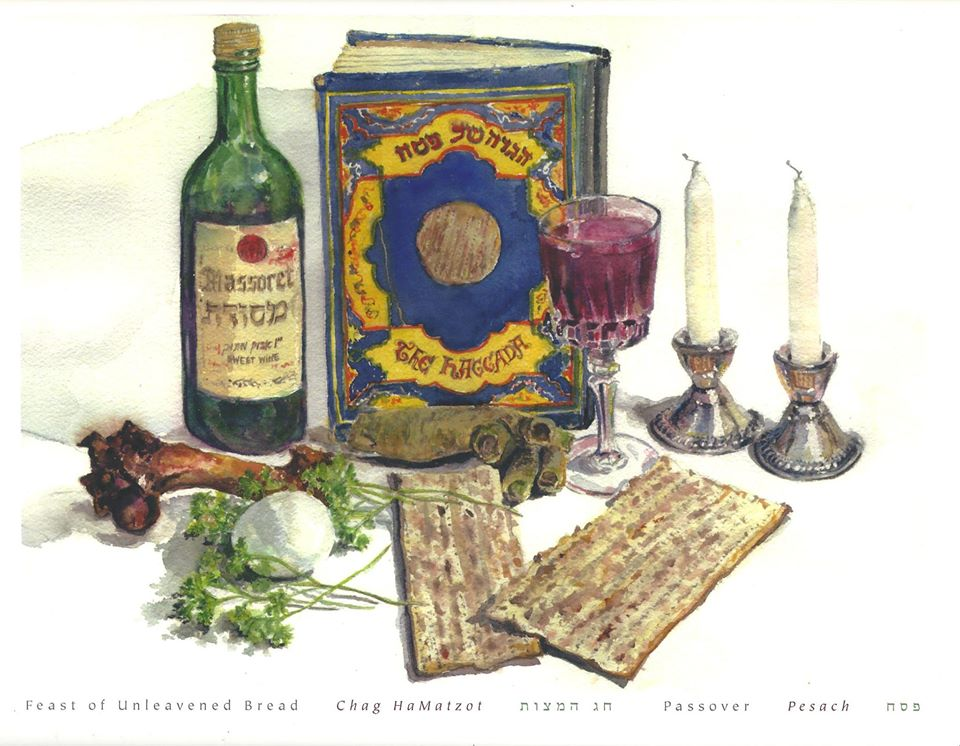 A Passover painting by the artist Martha Stern.