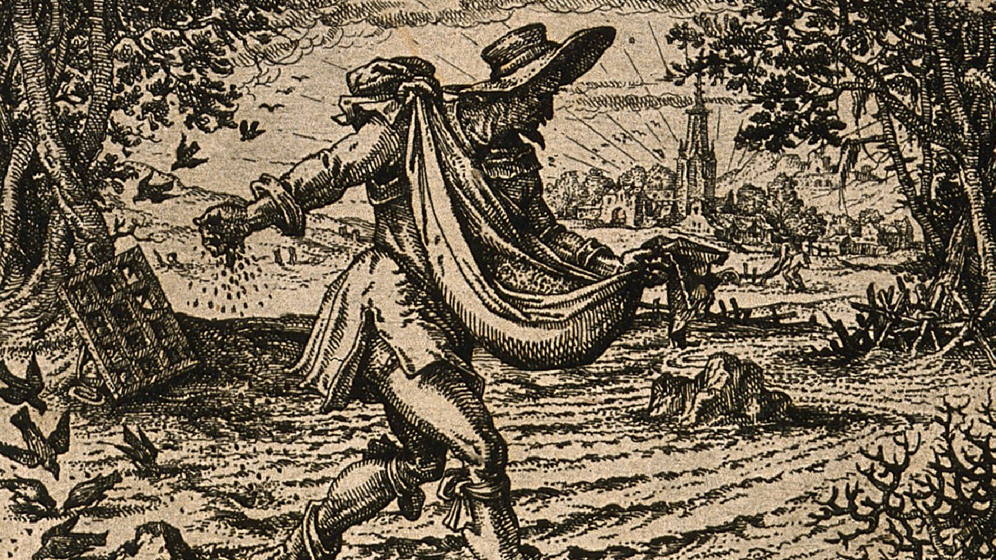Netivyah   Sukkot   A man scatters seeds; representing the Parable of the Sower (Matthew 13)   Etching by C. Murer c. 1600-1614